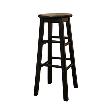 AHB Classic Backless Wood Bar Height Stool, Black