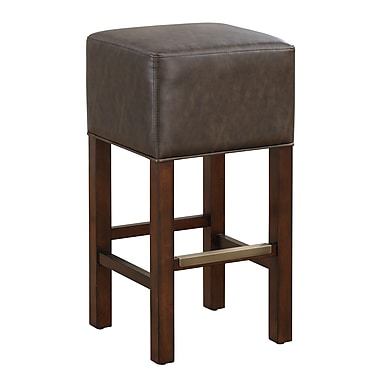 AHB Delmar Backless Leather Bar Height Stool, Coco