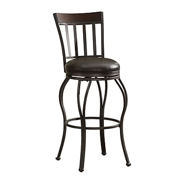 AHB Lola Mid Back Leather Bar Height Stool, Pepper