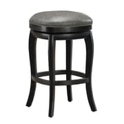 AHB Madrid Backless Leather Counter Height Stool, Black/Charcoal
