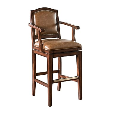 AHB Martinique High Back Leather Bar Height Stool, Tan