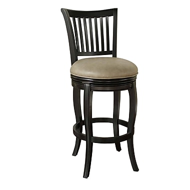 AHB Maxwell High Back Wenge Bonded Leather Counter Height Stool, Black