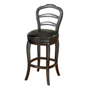 AHB Milan Mid Back Leather Bar Height Stool, Black