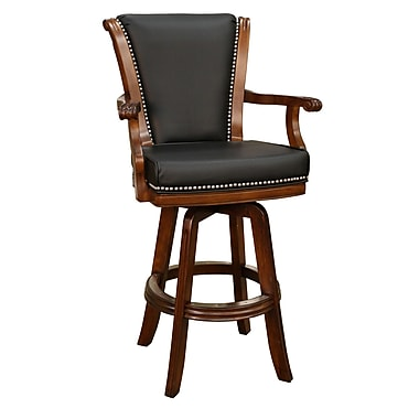 AHB Napoli High Back Leather Bar Height Stool, Black