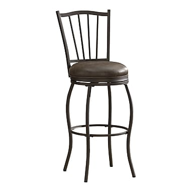 AHB Preston Mid Back Tobacco Bonded Leather Bar Height Stool, Pepper