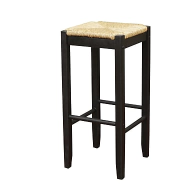 AHB Ratan Backless Seagrass Bar Height Stool, Black