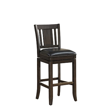 AHB San Marino Mid Back Black Bonded Leather Bar Height Stool, Riverbank