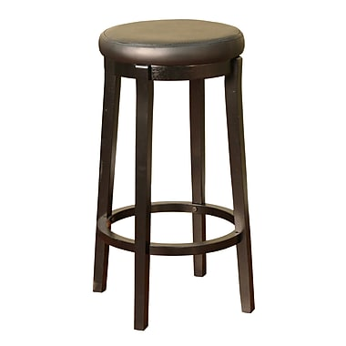 AHB Shelton Backless Vinyl Bar Height Stool, Black