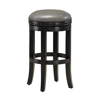 AHB Sonoma Charcoal Bonded Backless Leather Counter Height Stool, Black