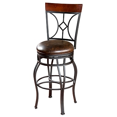 AHB Starletta High Back Tobacco Bonded Leather Counter Height Stool, Graphite