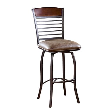 AHB Stefano High Back Bonded Leather Bar Height Stool, Coco