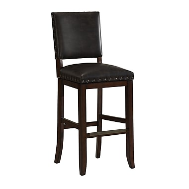 AHB Sutton Mid Back Tobacco Bonded Leather Bar Height Stool, Suede