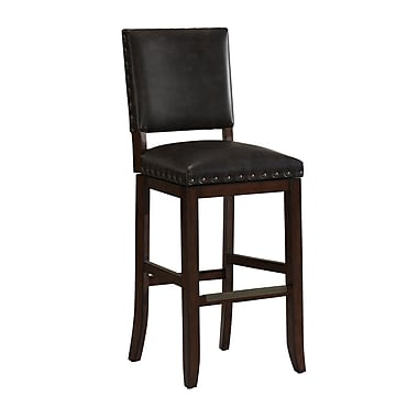 AHB Sutton Mid Back Tobacco Bonded Leather Counter Height Stool, Suede