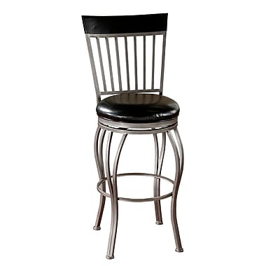 AHB Torrance High Back Glass Black Bonded Leather Counter Height Stool, Cobalt