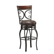 AHB Treviso High Back Bourbon Leather Extra Tall Bar Height Stool, Pepper