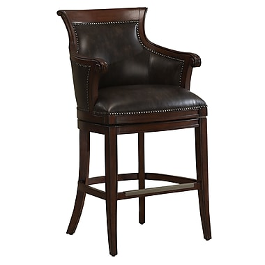 AHB Waldorf Mid Back Tobacco Bonded Leather Bar Height Stool, Suede