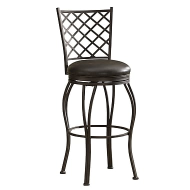 AHB Winsor Mid Back Tobacco Bonded Leather Bar Height Stool, Pepper
