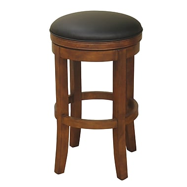 AHB Winston Black Backless Leather Bar Height Stool, Amaretto
