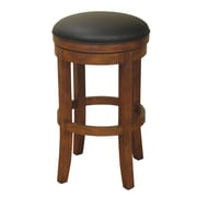 AHB Winston Black Backless Leather Counter Height Stool, Amaretto