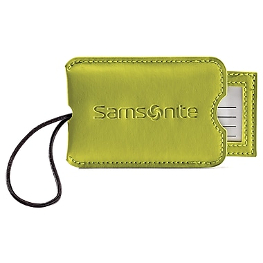 Samsonite® Large Vinyl ID Tags, Neon Green, 2/Pack