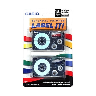 Casio® Label Maker Tapes, 18mm x 26', Clear