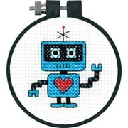 """Learn-A-Craft Robot Counted Cross Stitch Kit, 3"""" Round 11 Count"""