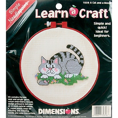 Learn-A-Craft A Cat And A Mouse Needlepoint Kit, 6