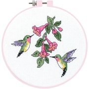 "Learn-A-Craft Hummingbird Duo Counted Cross Stitch Kit, 6"" Round 14 Count"