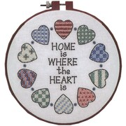 """Learn-A-Craft Home And Heart Stamped Cross Stitch Kit, 6"""" Round"""
