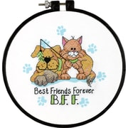 "Learn-A-Craft Best Friends Forever Stamped Cross Stitch Kit, 6"" Round"