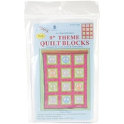 "Themed Stamped White Quilt Blocks 9""X9"" Peace Signs"