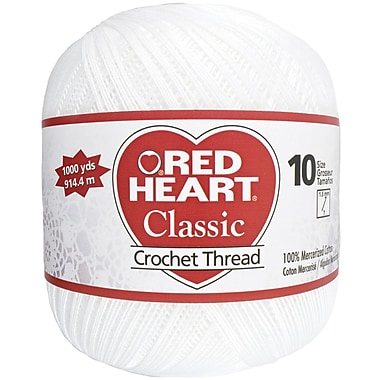 Red Heart Classic Crochet Thread Size 10-White