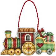 "Susan Winget Train Ornament Counted Cross Stitch Kit, 3-3/4""X2-1/4"" 14 Count Plastic Canvas"
