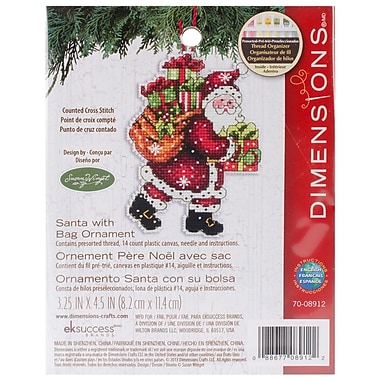 Susan Winget Santa W/Bag Ornament Counted Cross Stitch Kit, 3-1/2