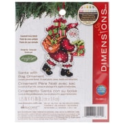 "Susan Winget Santa W/Bag Ornament Counted Cross Stitch Kit, 3-1/2""X4-3/4"" 14 Count Plastic Canvas"