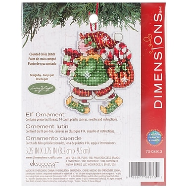 Susan Winget Elf Ornament Counted Cross Stitch Kit, 3-1/4