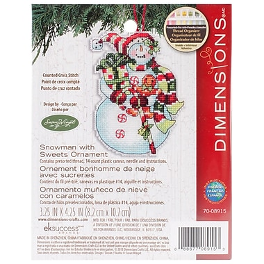 Susan Winget Snowman W/Sweets Ornament Counted Cross Stitch Kit, 3-1/4