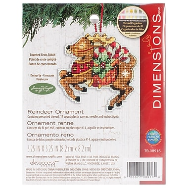 Susan Winget Reindeer Ornament Counted Cross Stitch Kit, 3-3/4