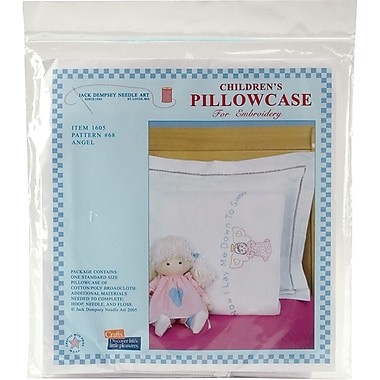 Children's Stamped Pillowcase With White Perle Edge, Angel