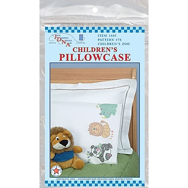 Children's Stamped Pillowcase With White Perle Edge, Children's Zoo