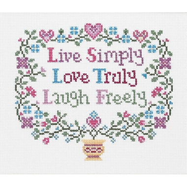 Live, Love, Laugh Counted Cross Stitch Kit, 8