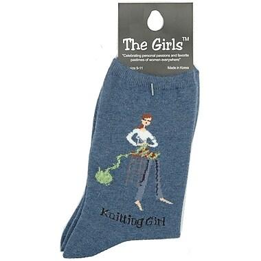 The Girls Socks, Knitting Girl - Denim