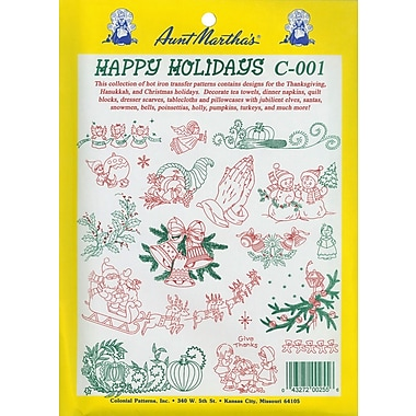 Aunt Martha's Iron-On Transfer Collections, Happy Holidays