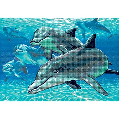 Deep Sea Dolphins Mini No Count Cross Stitch Kit, 7