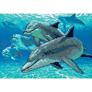 """Deep Sea Dolphins Mini No Count Cross Stitch Kit, 7""""X5"""" 14 Count"""