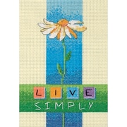 "Live Simply Mini Counted Cross Stitch Kit, 5""X7"" 14 Count"