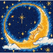 "Moon Dreamer Mini Needlepoint Kit, 5""X5"" Stitched In Yarn"
