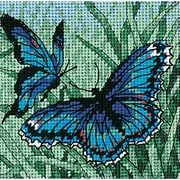 "Butterfly Duo Mini Needlepoint Kit, 5""X5"" Stitched In Thread"