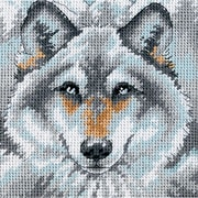 "Call Of The Wolf Mini Needlepoint Kit, 5""X5"" Stitched In Thread"