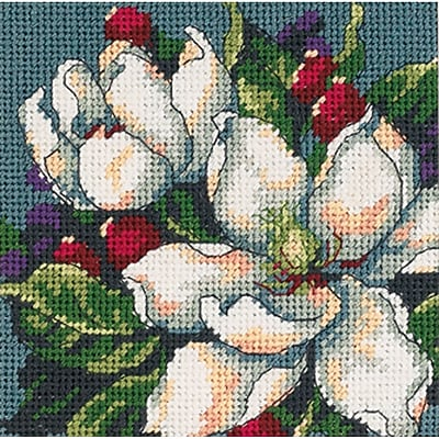 """""Magnolia Mini Needlepoint Kit, 5""""""""X5"""""""" Stitched In Floss"""""" 31315"